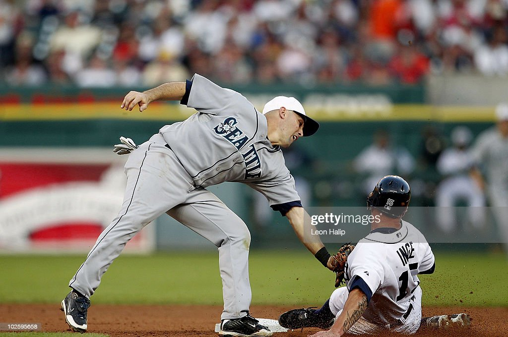 Jack Wilson #2 of the Seattle Mariners tags out Brandon Inge #15 of the Detroit Tigers as he attempts to steal second base during the sixth inning of the game on July 2, 2010 at Comerica Park in Detroit, Michigan. The Tigers defeated the Mariners 7-1.