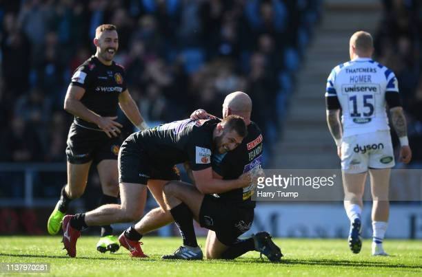 Jack Yeandle of Exeter Chiefs celebrates with Alec Hepburn as he scores their second try during the Gallagher Premiership Rugby match between Exeter...