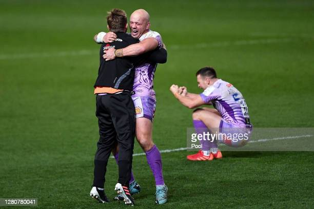 Jack Yeandle of Exeter Chiefs celebrates with Gareth Steenson at the final whistle after the Heineken Champions Cup Final match between Exeter Chiefs...