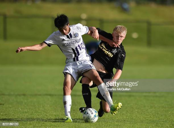 Jack Young of Newcastle United and Atsuya Ikema of Komazawa University FC during the Super Cup NI u18 tournament group game between Newcastle United...