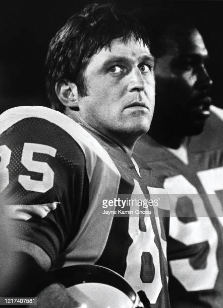 Jack Youngblood of the Los Angeles Rams stands on the field during a preseason game against the Minnesota Vikings at Anaheim Stadium Anaheim...