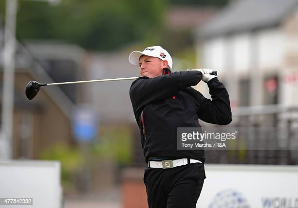 Jack Yule of Middleton Hall plays his first shot on the 1st tee during The Amateur Championship 2015 - Day Four at Carnoustie Golf Club on June 18,...