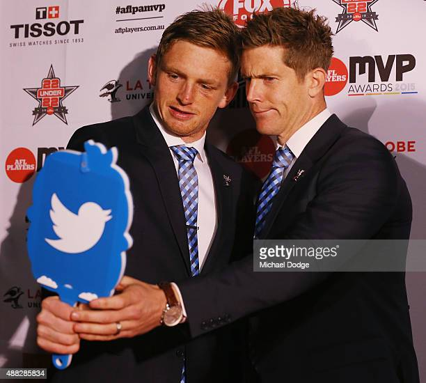 Jack Ziebell and Nick Dal Santo of the Kangaroos pose for a selfie during the announcement of the AFLPA MVP at Shed 14 Central Pier on September 15...