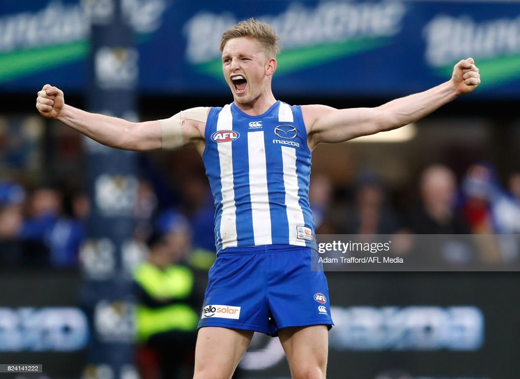 Jack Ziebell of the Kangaroos celebrates on the final siren during the 2017 AFL round 19 match between the North Melbourne Kangaroos and the Melbourne Demons at Blundstone Arena on July 29, 2017 in Hobart, Australia.