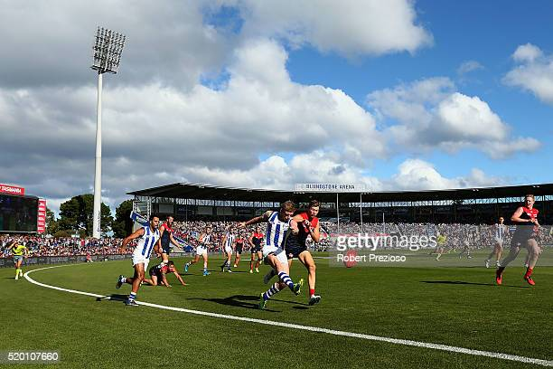 Jack Ziebell of the Kangaroos kicks during the round three AFL match between the North Melbourne Kangaroos and the Melbourne Demons at Blundstone...