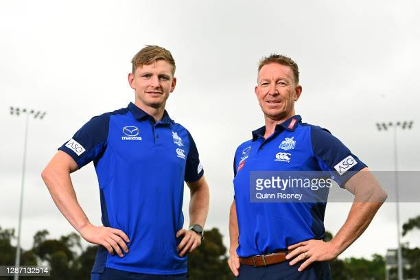 Jack Ziebell of the Kangaroos poses with new Kangaroos coach David Noble during a North Melbourne Kangaroos AFL media opportunity at Arden Street...