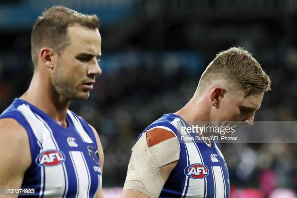 Jack Ziebell of the Kangaroos reacts after a loss during the 2021 AFL Round 05 match between the Geelong Cats and the North Melbourne Kangaroos at...
