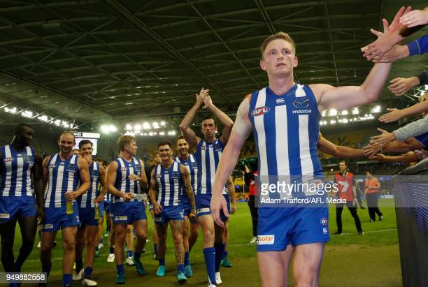 Jack Ziebell of the Kangaroos tf during the 2018 AFL round five match between the North Melbourne Kangaroos and the Hawthorn Hawks at Etihad Stadium...