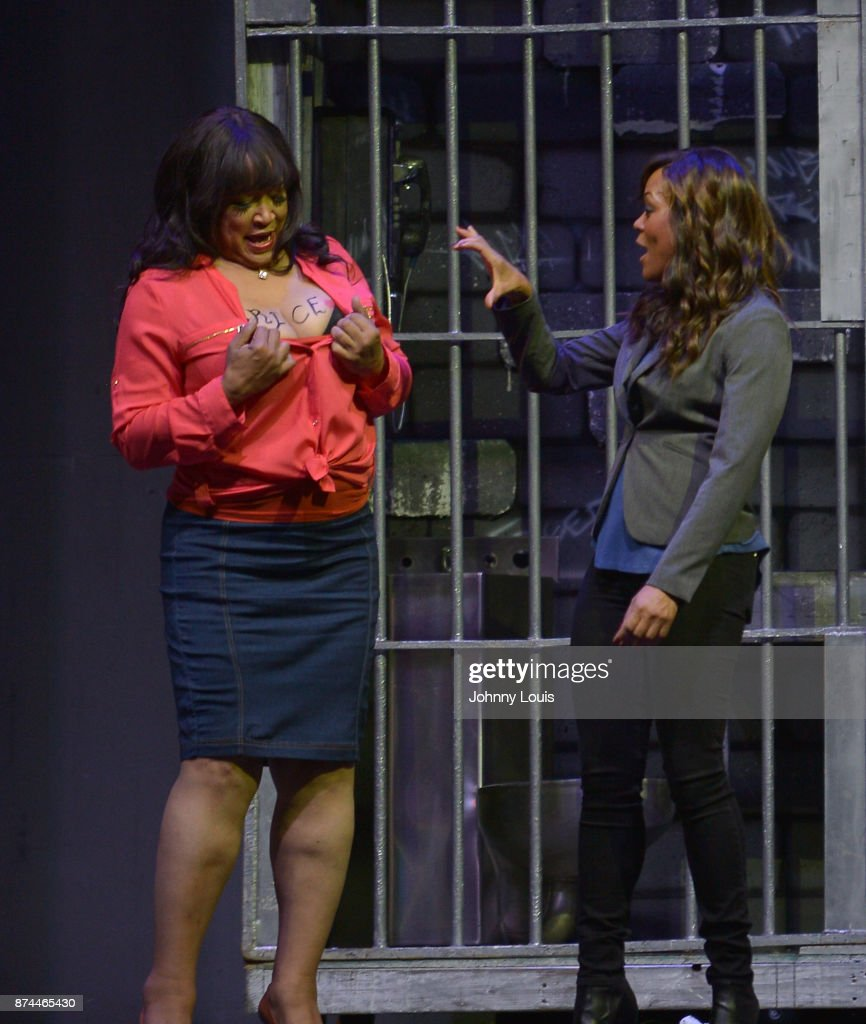 Jackee Harry and Robin Givens perform onstage during Priest Tyaire Productions Momma's Boy stage play day 1 at James L. Knight Center on November 11, 2017 in Miami, Florida.