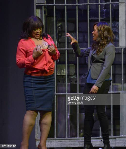 Jackee Harry and Robin Givens perform onstage during Priest Tyaire Productions Momma's Boy stage play day 1 at James L Knight Center on November 11...