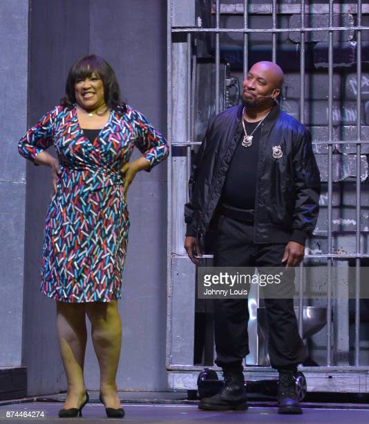 """Jackee Harry and Thomas """"Nephew Tommy"""" Miles perform onstage during Priest Tyaire Productions Momma's Boy stage play day 1 at James L Knight Center..."""