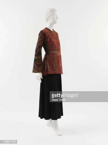 Jacket French, wool, cotton, rayon, Poiret's jacket merges his interest in Neoclassicism and orientalism by alluding to the early-nineteenth-century...