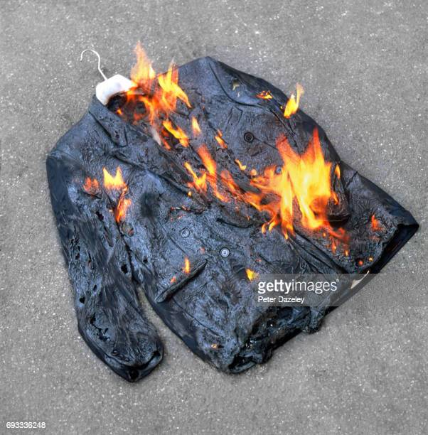 jacket on fire - burning stock pictures, royalty-free photos & images