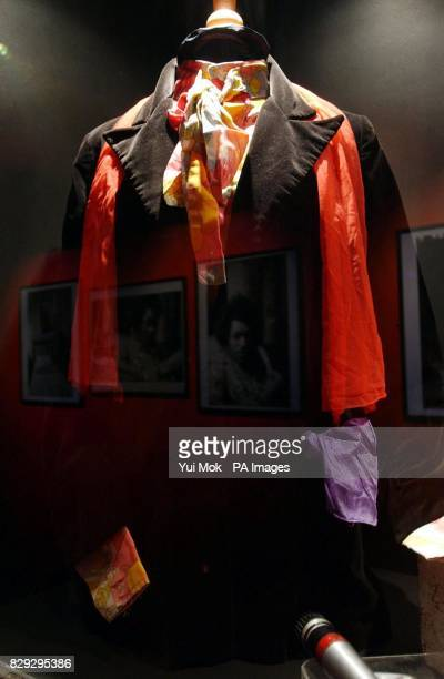 A jacket owned by Jimi Hendrix at the press preview for the exhibition 'Jimi At The Marquee' featuring the world's largest collection of Jimi Hendrix...
