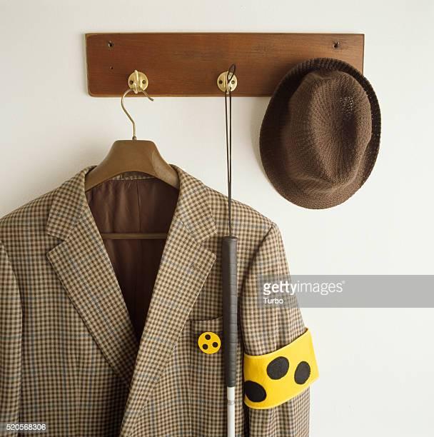Jacket with blind sign hanging on coat-hook