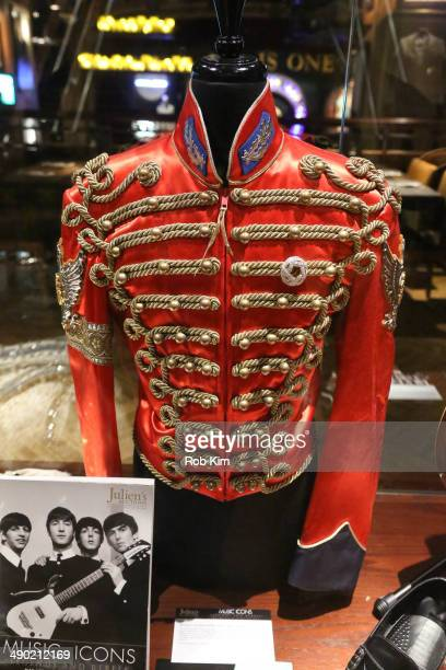 Jacket worn by Michael Jackson is displayed at Julien's Auctions' Music Icons Legends and Rebels Exhibit press preview at Hard Rock Cafe Times Square...
