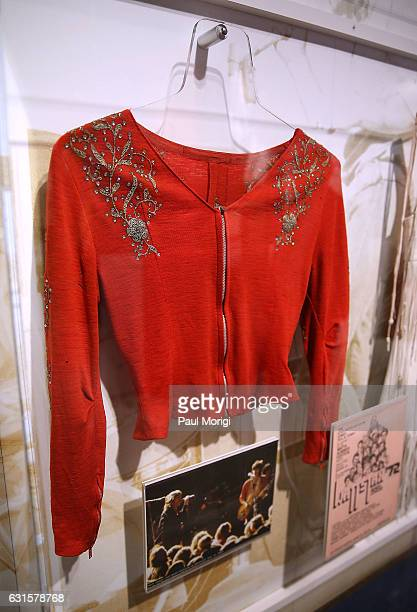 A jacket worn by Rolling Stones guitarist Keith Richards at the 1969 Altamont Festival on display at the 'Louder Than Words Rock Power and Politics'...