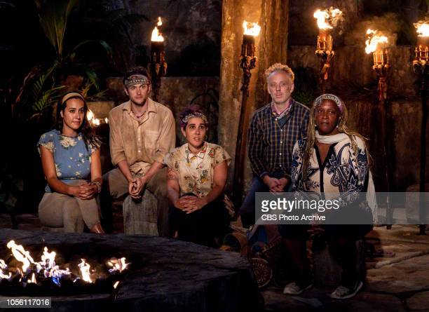 Jackets and Eggs Angelina Keeley Nick Wilson Lyrsa Torres Mike White and Natalie Cole at Tribal Council on the fifth episode of SURVIVOR David vs...