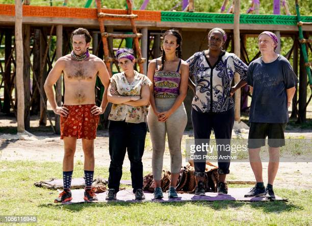 Jackets and Eggs Nick Wilson Lyrsa Torres Angelina Keeley Natalie Cole and Mike White on the fifth episode of SURVIVOR David vs Goliath airing...