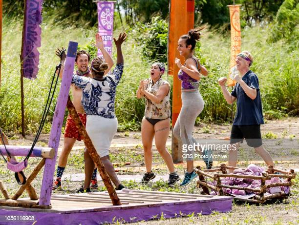 Jackets and Eggs Nick Wilson Natalie Cole Lyrsa Torres Angelina Keeley and Mike White on the fifth episode of SURVIVOR David vs Goliath airing...