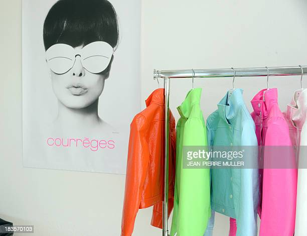 Jackets of French clothing brand Courreges are displayed in the new renovated workshop of the company's factory in the suburbs of Pau on October 7...