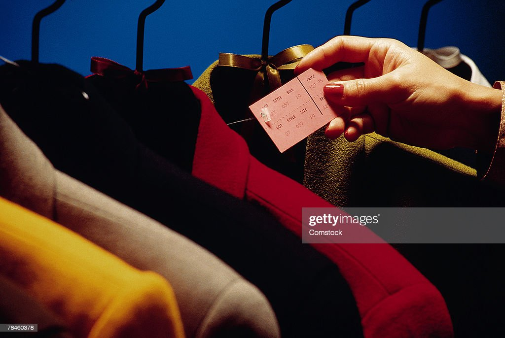 Jackets with price tag : Stock Photo