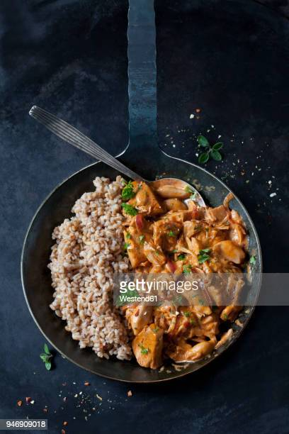 jackfruit goulash with spelt rice in pan - jackfruit stock photos and pictures