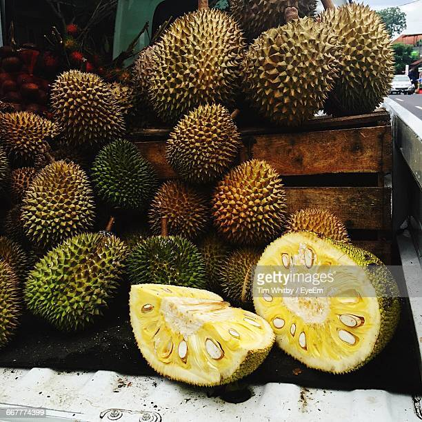 jackfruits for sale in market - jackfruit stock photos and pictures