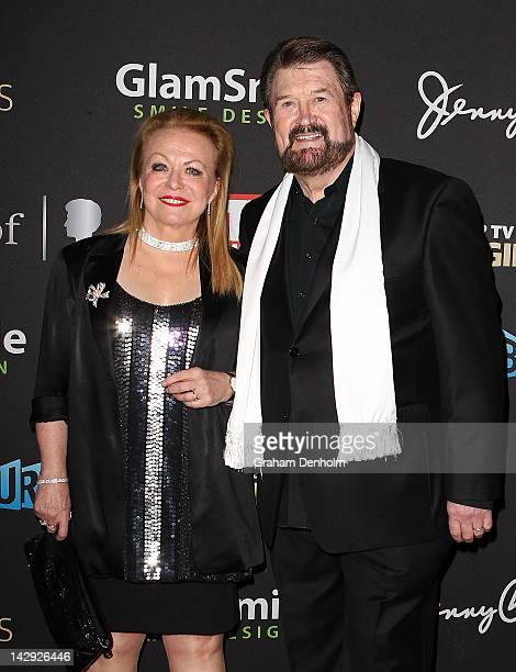 Jacki Weaver and Derryn Hinch arrive at the 2012 Logie Awards at the Crown Palladium on April 15 2012 in Melbourne Australia