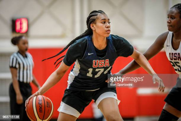 Jackia BrownTurner of Temple Hills Md participates in tryouts for the 2018 USA Basketball Women's U17 World Cup Team at the United States Olympic...
