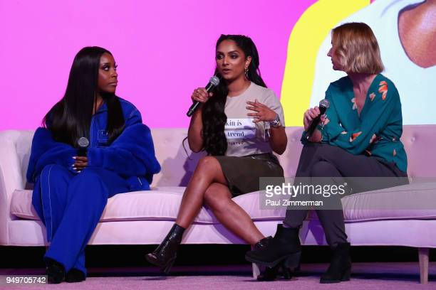 Jackie Aina Adrienne Bailon and Jaime Schmidt speak on a panel during Beautycon Festival NYC 2018 Day 1 at Jacob Javits Center on April 21 2018 in...