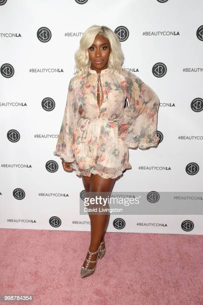 Jackie Aina attends the Beautycon Festival LA 2018 at the Los Angeles Convention Center on July 14 2018 in Los Angeles California