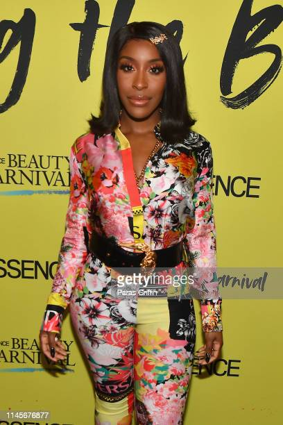 Jackie Aina poses backstage during the 2019 ESSENCE Beauty Carnival Day 2 on April 28 2019 in New York City