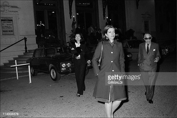 Jackie and Aristote Onassis In Monaco city Monaco On February 25 1974Jackie Tina and Aristote leaving the Hotel de Paris