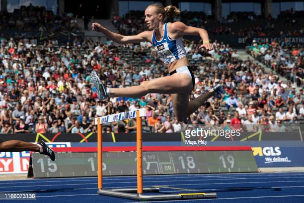 Jackie Baumann competes during a 400m Hurdles Women Final at German National Championship in Athletics on August 04 2019 in Olympiastadion in Berlin...