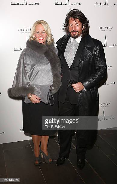 Jackie Bowen and Laurence LlewelynBowen attend 'The View from The Shard' launch party at The Shard on January 31 2013 in London England The Shard is...
