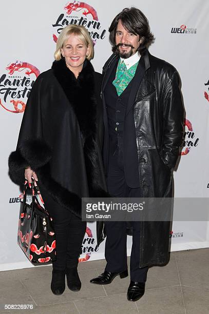 Jackie Bowen and Laurence LlewelynBowen attend the VIP launch of Magical Lantern Festival at Chiswick House And Gardens on February 3 2016 in London...