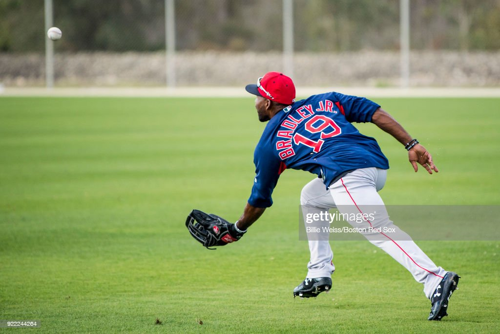 Jackie Bradley Jr. #19 of the Boston Red Sox catches a fly ball during a team workout on February 21, 2018 at jetBlue Park at Fenway South in Fort Myers, Florida .