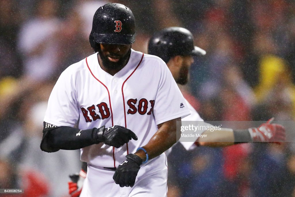 Jackie Bradley Jr. #19 of the Boston Red Sox celebrates after hitting a two run home run against the Toronto Blue Jays during the fourth inning at Fenway Park on September 6, 2017 in Boston, Massachusetts. (Photo by Maddie Meyer/Getty Images)`