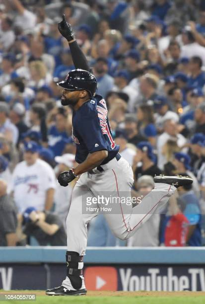 Jackie Bradley Jr #19 of the Boston Red Sox celebrates his eighth inning home run as he rounds the bases against the Los Angeles Dodgers in Game...