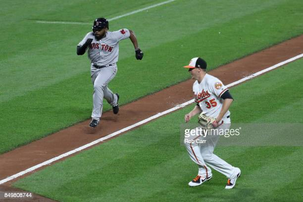 Jackie Bradley Jr #19 of the Boston Red Sox comes in to score the game winning run on a wild pitch by Brad Brach of the Baltimore Orioles in the...