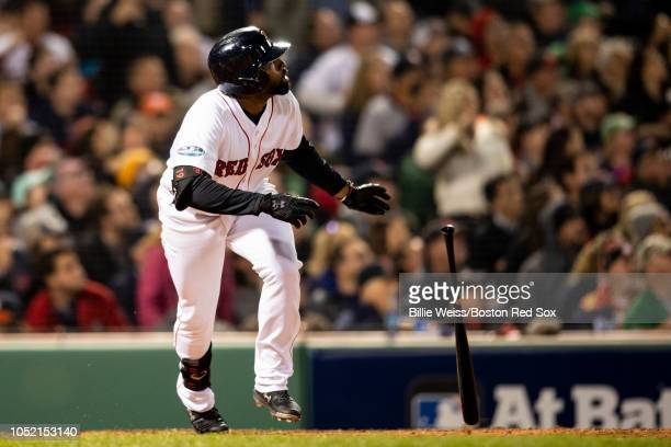 Jackie Bradley Jr #19 of the Boston Red Sox hits an RBI double during the third inning of game two of the American League Championship Series against...
