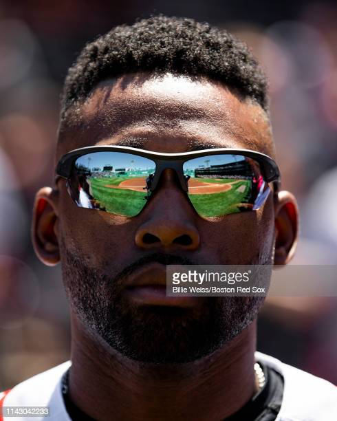 Jackie Bradley Jr #19 of the Boston Red Sox looks on before a game against the Seattle Mariners on May 11 2019 at Fenway Park in Boston Massachusetts