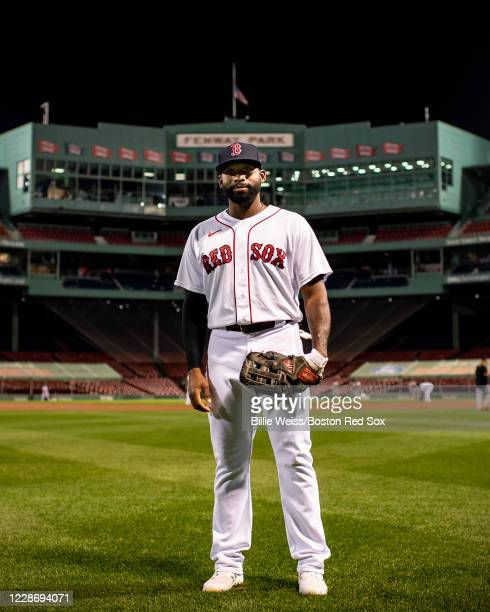 Jackie Bradley Jr #19 of the Boston Red Sox poses for a portrait in center field before the first pitch of a game against the Baltimore Orioles on...