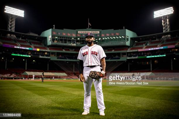 Jackie Bradley Jr. #19 of the Boston Red Sox poses for a portrait in center field before the first pitch of a game against the Baltimore Orioles on...