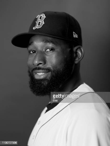 Jackie Bradley Jr #19 of the Boston Red Sox poses for a portrait during Boston Red Sox Photo Day at JetBlue Park at Fenway South on February 19 2019...