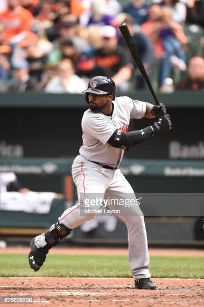 Jackie Bradley Jr #19 of the Boston Red Sox prepares for a pitch during a baseball game against the Baltimore Orioles at Nationals Park on April 23...