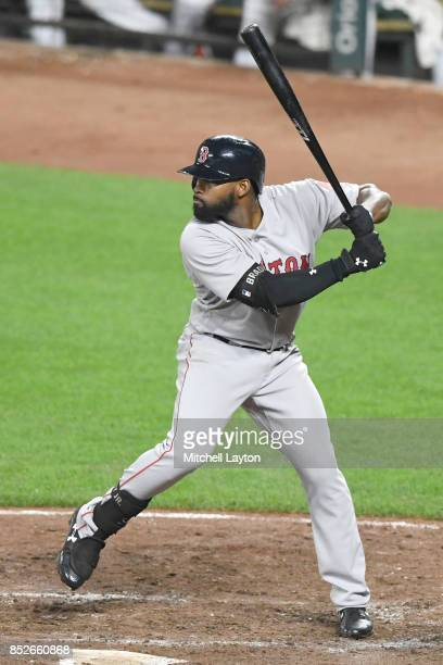 Jackie Bradley Jr #19 of the Boston Red Sox prepares for a pitch during a baseball game against the Baltimore Orioles at Oriole Park at Camden Yards...