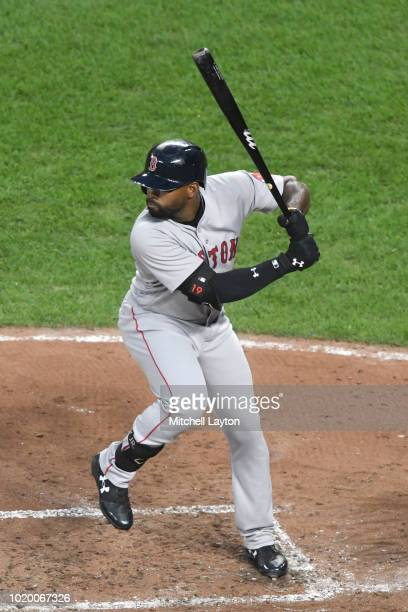 Jackie Bradley Jr #19 of the Boston Red Sox prepares for a pitch during game two of a doubleheader against the Baltimore Orioles at Oriole Park at...