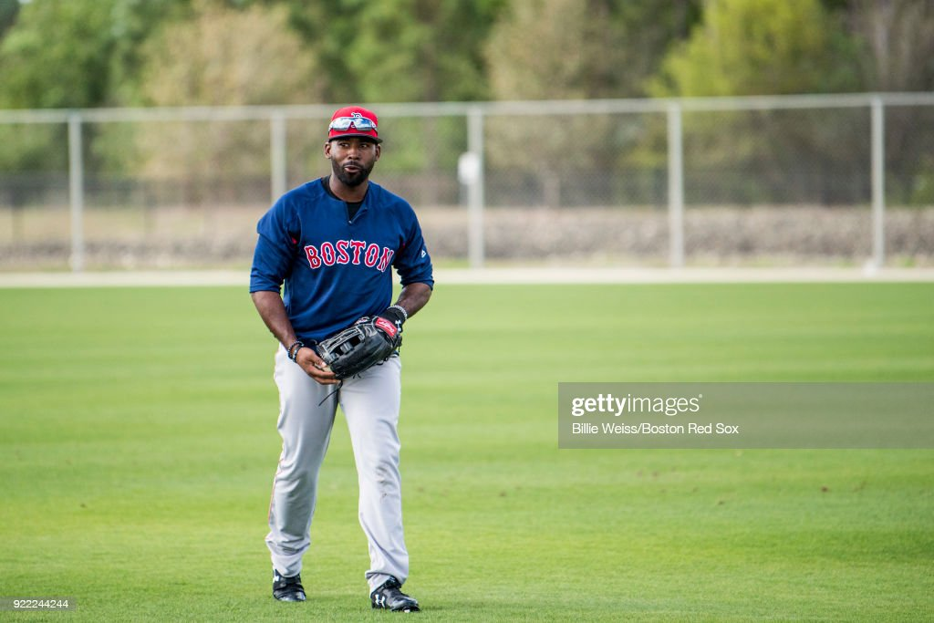 Jackie Bradley Jr. #19 of the Boston Red Sox reacts during a team workout on February 21, 2018 at jetBlue Park at Fenway South in Fort Myers, Florida .